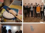 「小さなポストカードと大きな壁を塗ろう!」ワークショップ